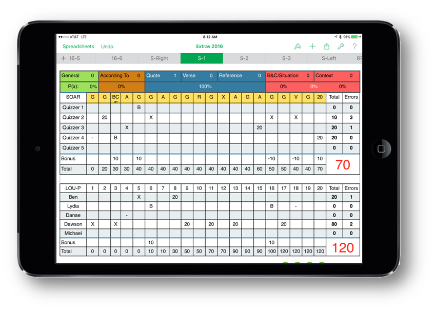 Use iOS Numbers or MS Excel to keep score on your tablet!